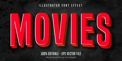 texto de filmes, efeito de fonte editável do estilo de filme vermelho 3d