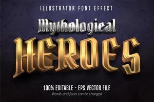 texto de heróis mitológicos, efeito de fonte editável do estilo metálico ouro e prata 3d