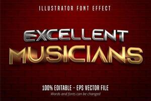 excelente texto de músicos, efeito de fonte editável em ouro e prata estilo metálico 3d