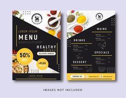 menu de restaurante de cor amarela vetor
