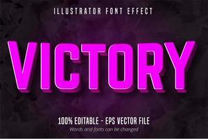 texto de vitória, efeito de texto editável roxo 3d