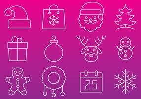 Vetores de ícones de linha de natal
