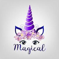 unicórnio mágico roxo vetor