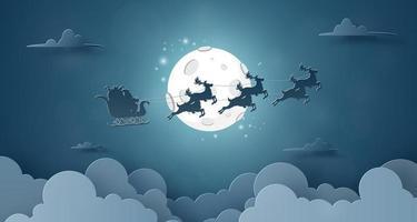 Papai Noel e renas voando no céu com fundo de céu noturno de lua cheia