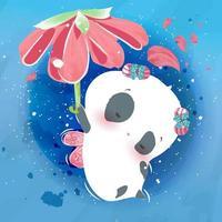 pequeno animal panda e flor do céu