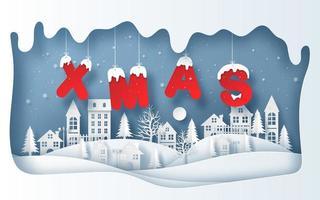estilo de arte de papel da vila na temporada de inverno com palavra natal de suspensão vetor