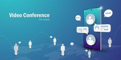 reunião de negócios de videoconferência on-line no celular smartphone vetor