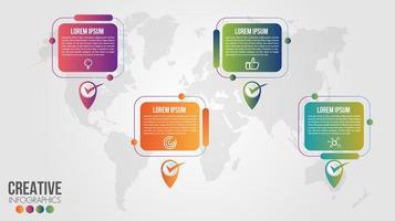modelo de design de cronograma de mapa global de infográfico de negócios vetor