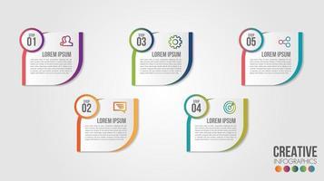 modelo de design de cronograma de infográfico de negócios com ícones e 5 números vetor