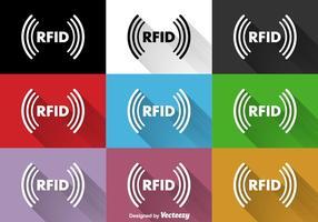 Sinais planos vetoriais RFID vetor