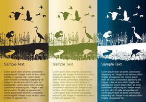 Cegonhas e Garças Silhouette Background Vectors