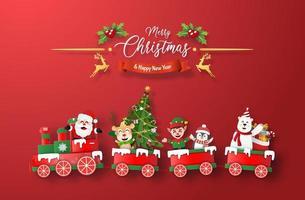 arte de papel origami do trem de Natal com Papai Noel e personagem em fundo vermelho