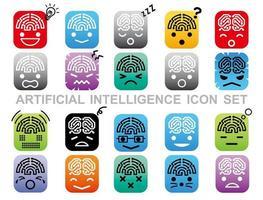 conjunto de ícones de inteligência artificial isolado em um fundo branco. vetor