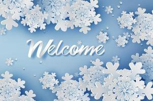 corte de papel welcom inverno design vetor