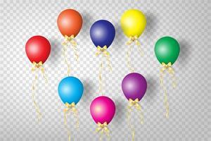 conjunto de balões coloridos realistas vetor