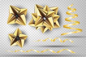 conjunto de laço de fita de ouro vetor