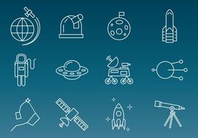Ícones de vetor de tecnologia espacial