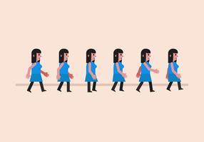 Menina do ciclo da caminhada do vetor