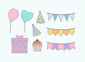 Vetor Gratuito de Elementos de Festa de Aniversário