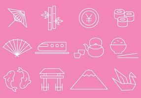 Vetores de ícones de linha fina de Japão