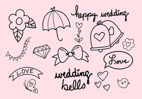 Conjunto de vetores desenhados a mão de sinos de casamento