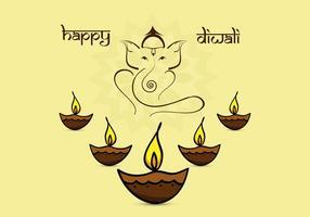 Cartão bonito de Diwali com Diyas vetor