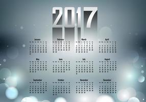 Calendário do ano 2017 com cor cinza