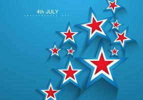 4o do cartão do dia da independência de julho com estrelas vetor
