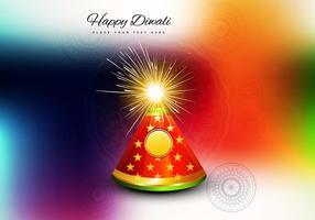 Foguete De Diwali Sobre Fundo Colorido vetor