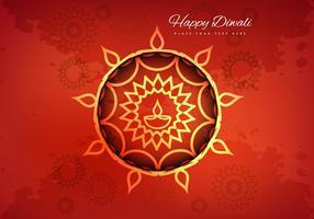Cartão hindu do festival de Diwali com fundo da flora vetor