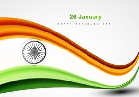 26 de janeiro Dia da república feliz com bandeira indiana vetor