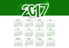 Calendário Colorido Verde de Ano 2017