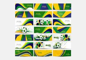 Cabeçalho da cor da bandeira brasileira com futebol vetor