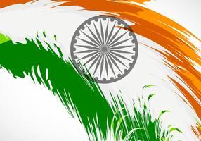 Tri color grunge brush stroke indian flag vetor