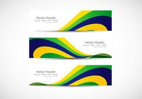 Cabeçalho com onda de bandeira brasileira para cartão de visita vetor
