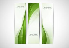 Cabeçalho de onda verde brilhante vetor