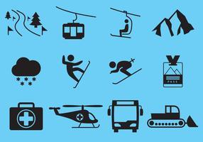 Vetores de ícones de férias de esqui de inverno