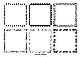 Conjunto de moldura de vetor desenhado mão desenhada