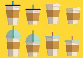 Conjunto de bebida de café e café vetor