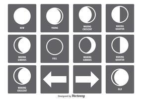 Conjunto de ícones da fase da lua vetor