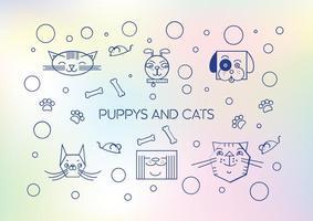 Vetor bonito de cachorrinhos e gatos fofos