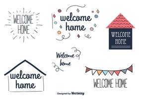 Bem-vindo rótulos de vetores domésticos
