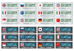 Vetores internacionais do relógio digital