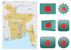 Mapa de Bangladesh do vetor