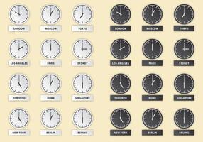 Vetores do relógio internacional de horas