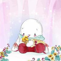 coelho segurando sorvete