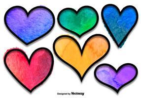 Conjunto de vetores de corações aquarelados
