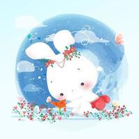 coelhos em campos de flores coloridas