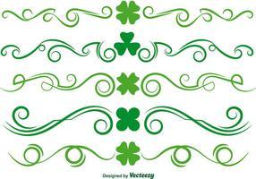 Conjunto de vetores de scrollwork do trevo verde