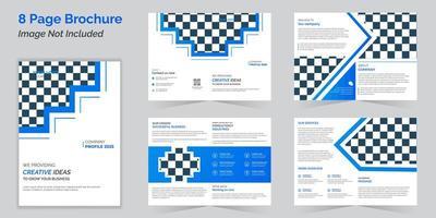 modelo de design de brochura azul de negócios bi-fold ou revista vetor